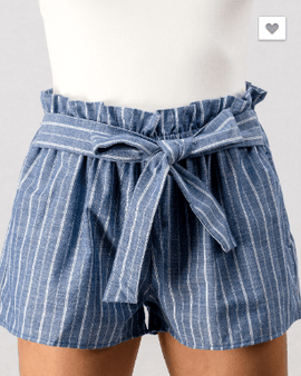 Striped Elastic Waist Tie Front Shorts