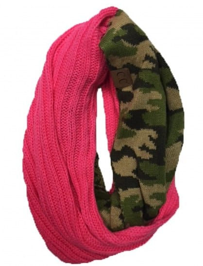 CAMO INFINITY SCARF NEW CANDY PINK