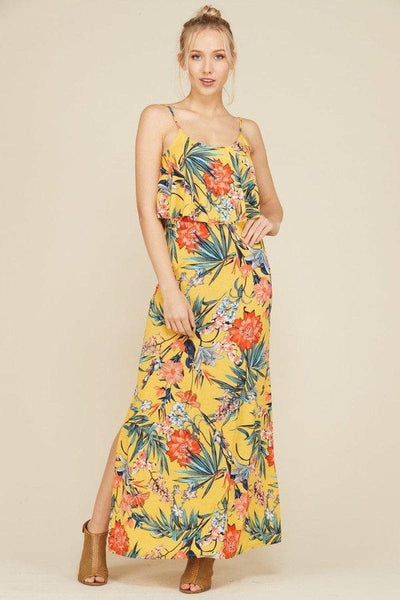 Tropical Print Maxi Dress with Side Slits