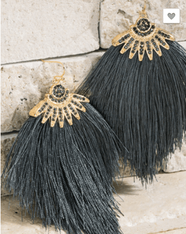Tassel Earrings with Rhinestone Accent