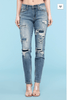 Destroyed Patched Tapered Slim Fit Judy Blue Jeans