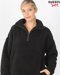SOFT SHERPA HALF ZIP PULLOVER WITH SIDE POCKETS