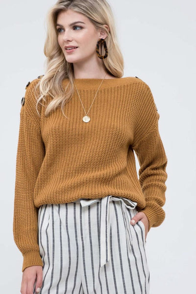 Shoulder Button Pullover Sweater