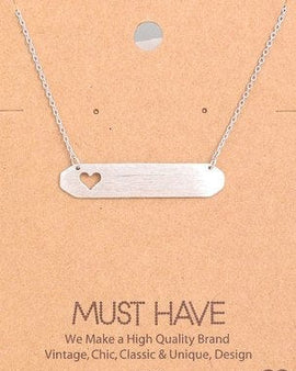 Heart Cutout Name Plate Pendant Necklace.