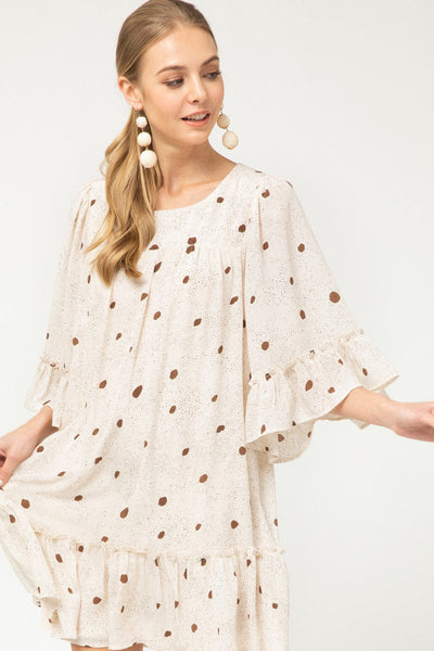 Dotted print round neck dress