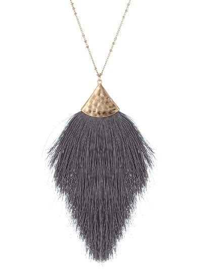 "30"" LONG TASSEL NECKLACE DGRY"