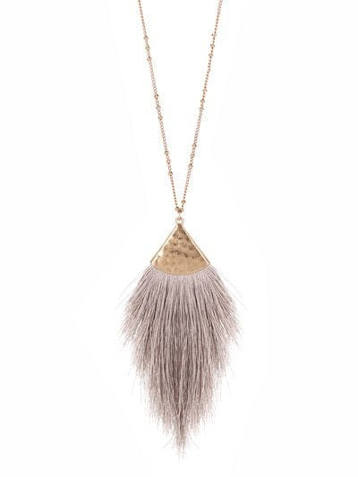 "30"" LONG TASSEL NECKLACE GRY"