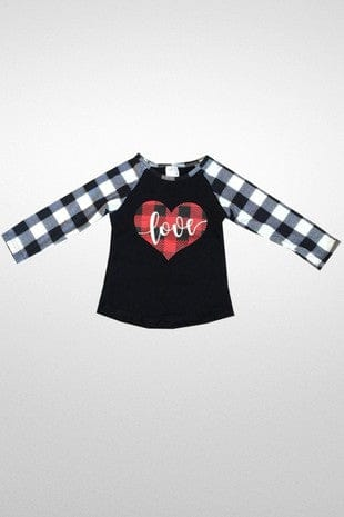 Girl's Buffalo Plaid Love Shirt