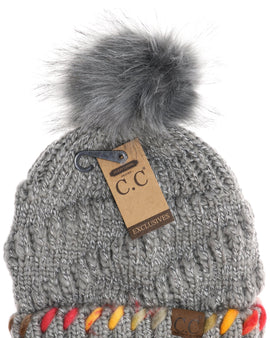 Fuzzy Lined Ombre Thread Accent CC Beanie