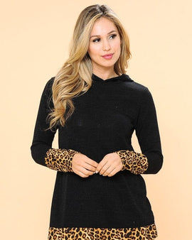 Hoodie Tunic Top with Leopard Detail
