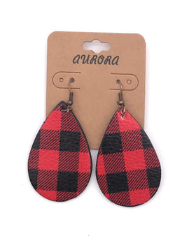 Buffalo Plaid Tear Drop Earrings