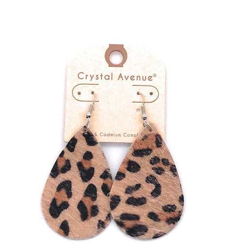 Leopard Print Tear drop Earrings