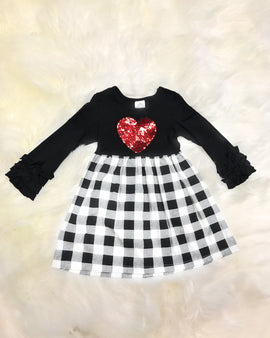 Girl's Plaid Dress with Heart