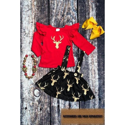 Red deer sparkly top w/ overall skirt