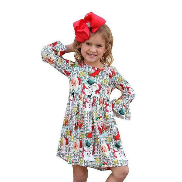 CUTE MULTI COLOR SANTS PRINTED DRESS