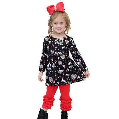 Snow flake printed flare top with red ruffle pants