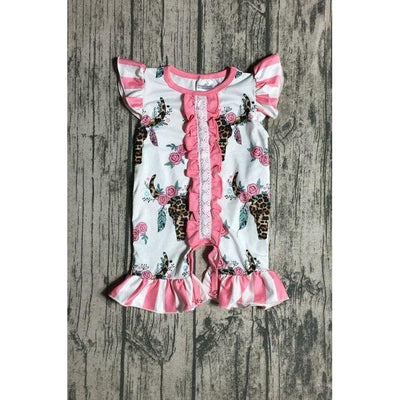 White Baby Romper With Head Cow Skull Print & Stripes
