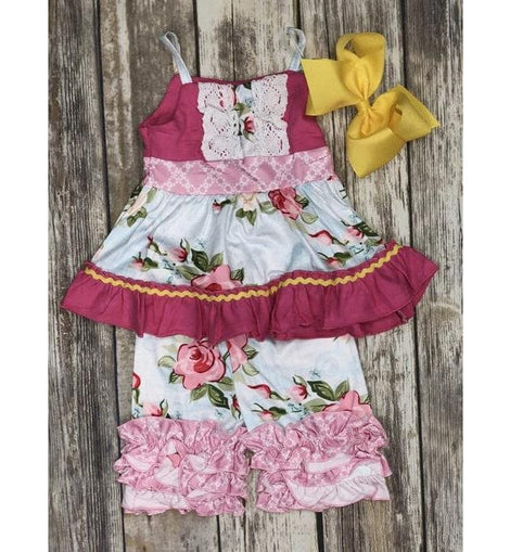 FLORAL 2 PC SET W RUFFLE SHORTS