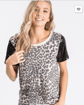 Leopard Print Top with Sequin Sleeves