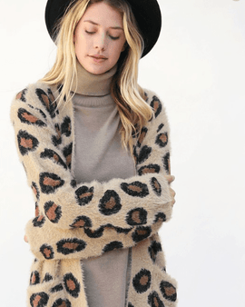LEOPARD LONG FUZZY CASUAL CARDIGAN