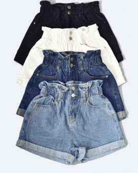 Elastic Waist Medium Wash Denim Shorts