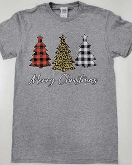 Plaid and Leopard Merry Christmas Trees Tee