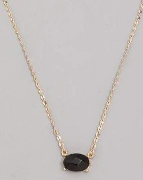 Oval Faceted Pendant Necklace