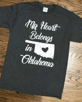 MY HEART BELONGS IN OKLAHOMA T-SHIRT