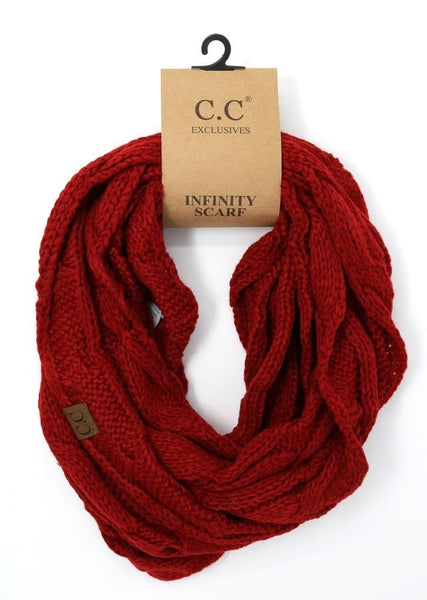 SOLID CABLE KNIT CC INFINITY SCARF RED
