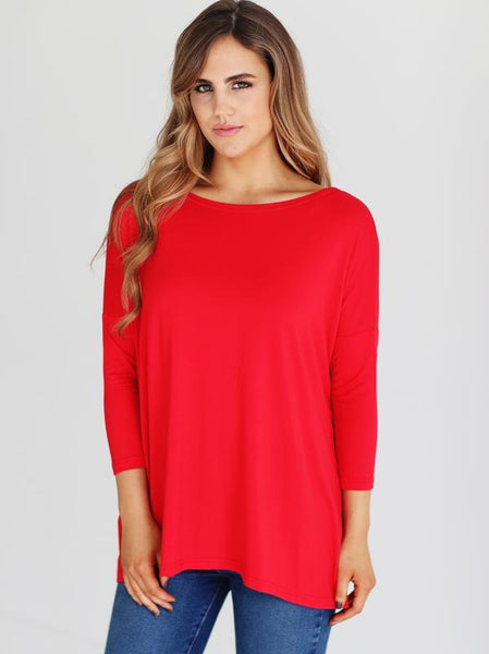 BAMBOO 3/4 SLEEVE TOP Red