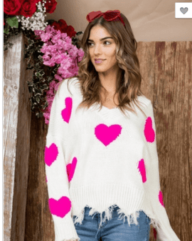 Heart Print Long Sleeve Sweater