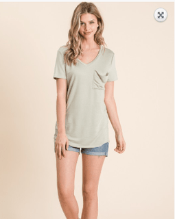 Short Sleeve Front Pocket V-Neck Tee
