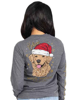 Simply Southern Long Sleeve Santa Dog T-Shirt for Women in Dark Heather Gray