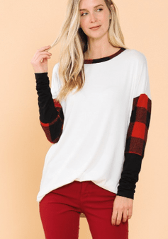 Tunic Top With Plaid Puff Sleeves