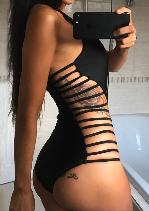 Solid Strappy Halter One-Piece Swimsuit