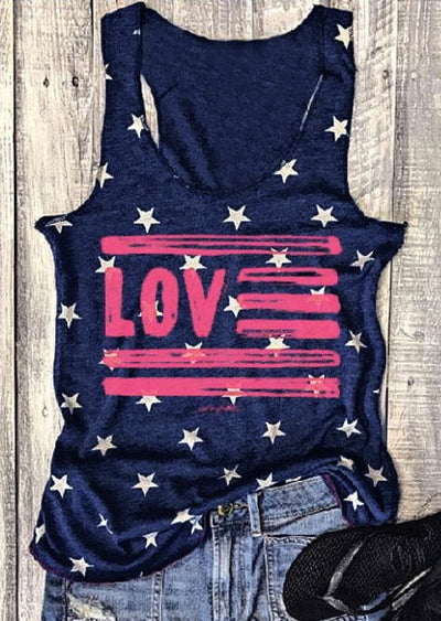 Love Star O-Neck Sleeveless Tank