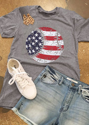 American Flag Baseball Printed T-Shirt