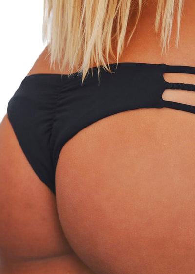 Solid Braid Ruched Bikini Panties