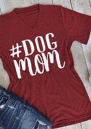 Dog Mom V-Neck Casual T-Shirt