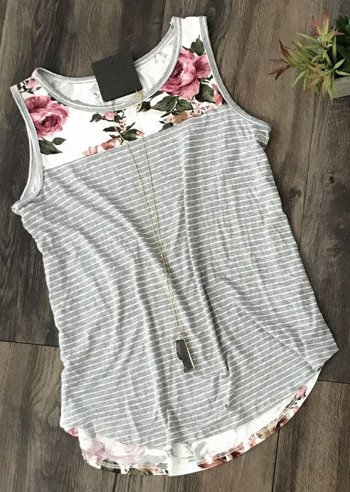 Floral Striped Splicing O-Neck Tank