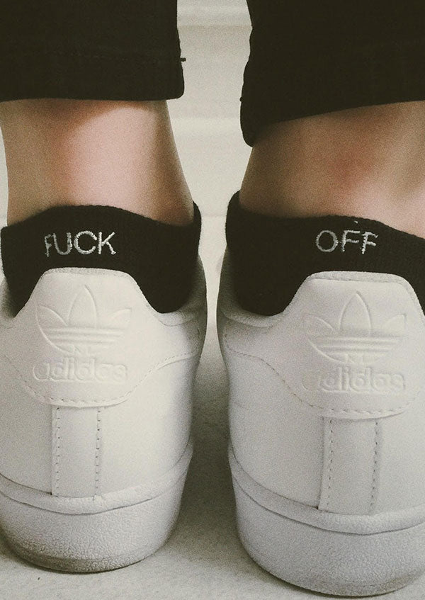 Fuck Off Embroidery Short Socks