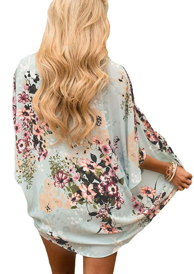 Floral Batwing Sleeve Cardigan without Necklace