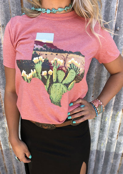 Floral Cactus Texas T-Shirt without Necklace