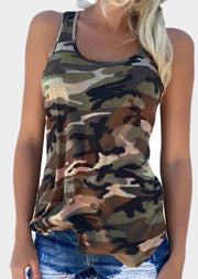 Camouflage Printed O-Neck Tank