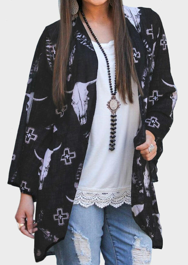 Bull Head Three Quarter Sleeve Cardigan without Necklace