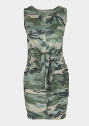 Camouflage Printed Tie Sleeveless Mini Dress