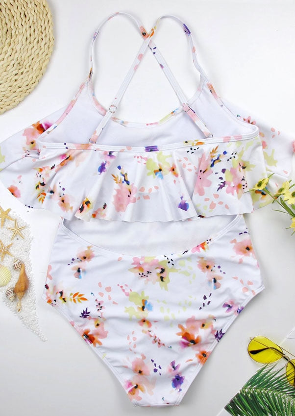 Floral Layered One-Piece Swimsuit