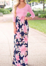 Floral Splicing O-Neck Maxi Dress without Necklace