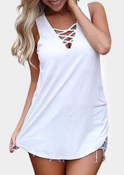 Solid Criss-Cross Casual Tank