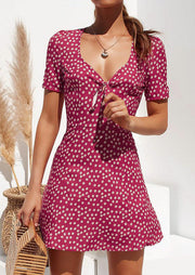 Polka Dot Deep V-Neck Mini Dress without Necklace
